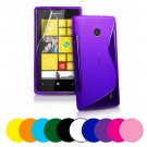 Nokia Lumia 520 S Wave Gel Case Cover + Screen Protector