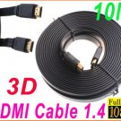 10M /33FT Full 1080P 3D Flat HDMI Cable 1.4 for XBOX /PS3 HDTV HDMI 1.4 Male to Male