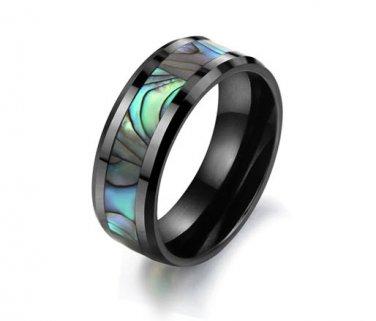 Mens Natural Sea Shell Ceramic Ring Piano Black Wedding Band Jewellery