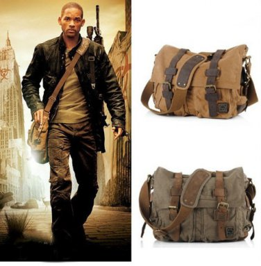 Men's Vintage Canvas Leather School Military Messenger Shoulder Bag