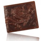 Men's 100% Genuine Leather 3D Dragon Wallet Purse Money Holder Clip