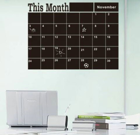 Wall Calendar Decal Chalkboard Vinyl Sticker Home Office Business Decor