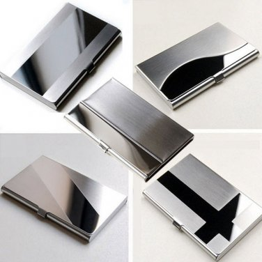 Stainless Steel Silver Aluminum Business ID Credit Card Holder Case Cover