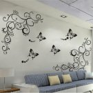 Hot Butterfly Feifei Vine Flower Sticker Wall Decal Removable Art PVC Decor Home