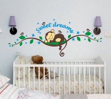 Vinyl Monkey Decal Decor Cute Sweet Dreams Infant Baby Childrens Room Wall