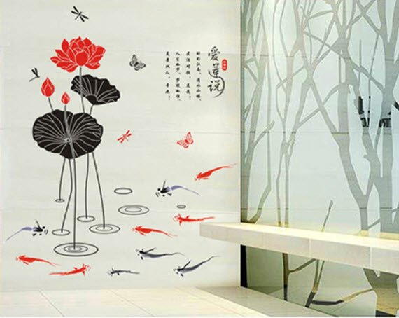 Asian Lotus Accent Decal Wall Art Decor Removable Sticker