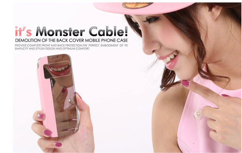 Galaxy Mega 6.3 i9200 Magic Mirror Flip Case Phone Cover Stand