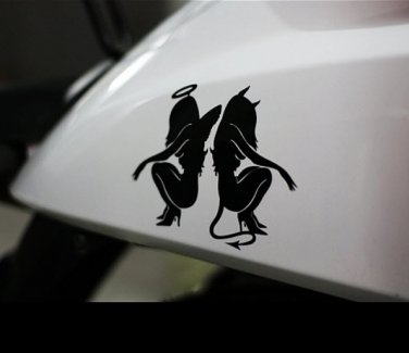 Motorcycle Bike Decal Car Sticker Sexy Angel Devil Ladies Snowboard Sticky