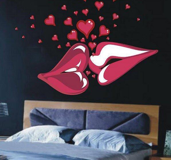 Big Kiss Lips Love Heart Vinyl Wall Decal Decor Sticker Poster
