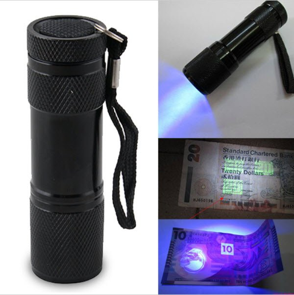 Blacklight UV Flashlight Counterfeit Money Currency Detector