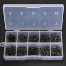 500pc Lot Fishing Hooks with Tackle Box 10 Sizes