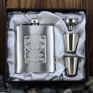 7oz Jack Daniels Hip Flask Canteen Gift Set Box Stainless Steel