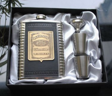 8oz Stainless Steel Hip Flask Liquor Canteen Gift Box Set