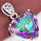 Huge 43.ct Rainbow Fire Topaz 925 Sterling Silver Heart Pendant