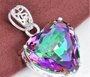 Huge 43.ct Rainbow Fire Topaz 925 Sterling Silver Heart Pendant