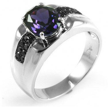 Men's 3ct Alexandrite Sapphire Rhodium 925 Sterling Silver Ring