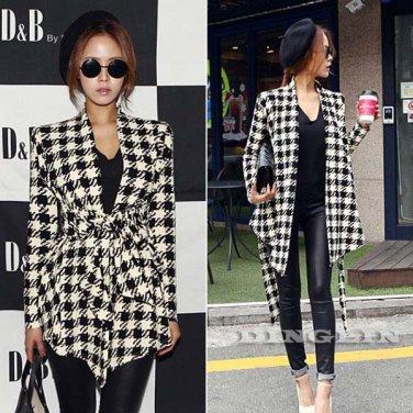 2015 Womens Spring Vogue Checkered Cardigan Jacket