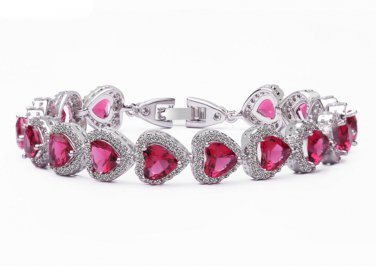 Ruby Heart White Gold Bracelet Zirconia Bangle