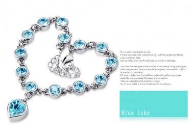 Crystal Heart Pendant Charm Bracelet