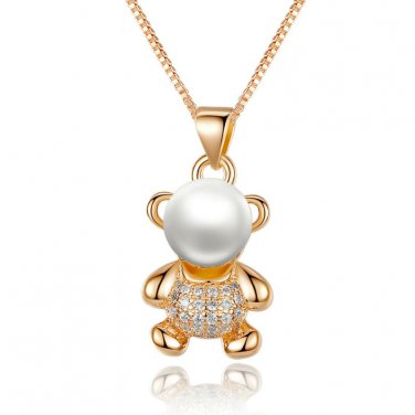 18K Gold Cute Teddy Bear Pearl Necklace Pendant