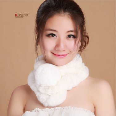 Genuine Rex Rabbit Fur Scarves Scarf Wrap Neck Warmer Choker