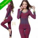 Womens Thermal Underwear Slimming 2Pc Body Suit Shaper Warmer