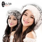 2015 Womens Genuine Rex Rabbit Fur Beret Winter Hat Bonnet