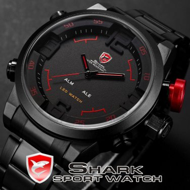 Shark Dual Analog Digital LED Stainless Steel Sports Watch Quartz Wristwatch