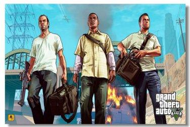 GTA 5 V Grand Theft Auto Video Game Silk Fabric Poster PS4 Xbox