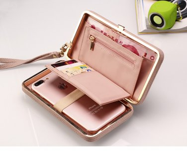 Womens Pink iPhone 8 7 Samsung Galaxy S8 Plus S7 Note 4 3 Purse Case Wallet Tote Bag Cover