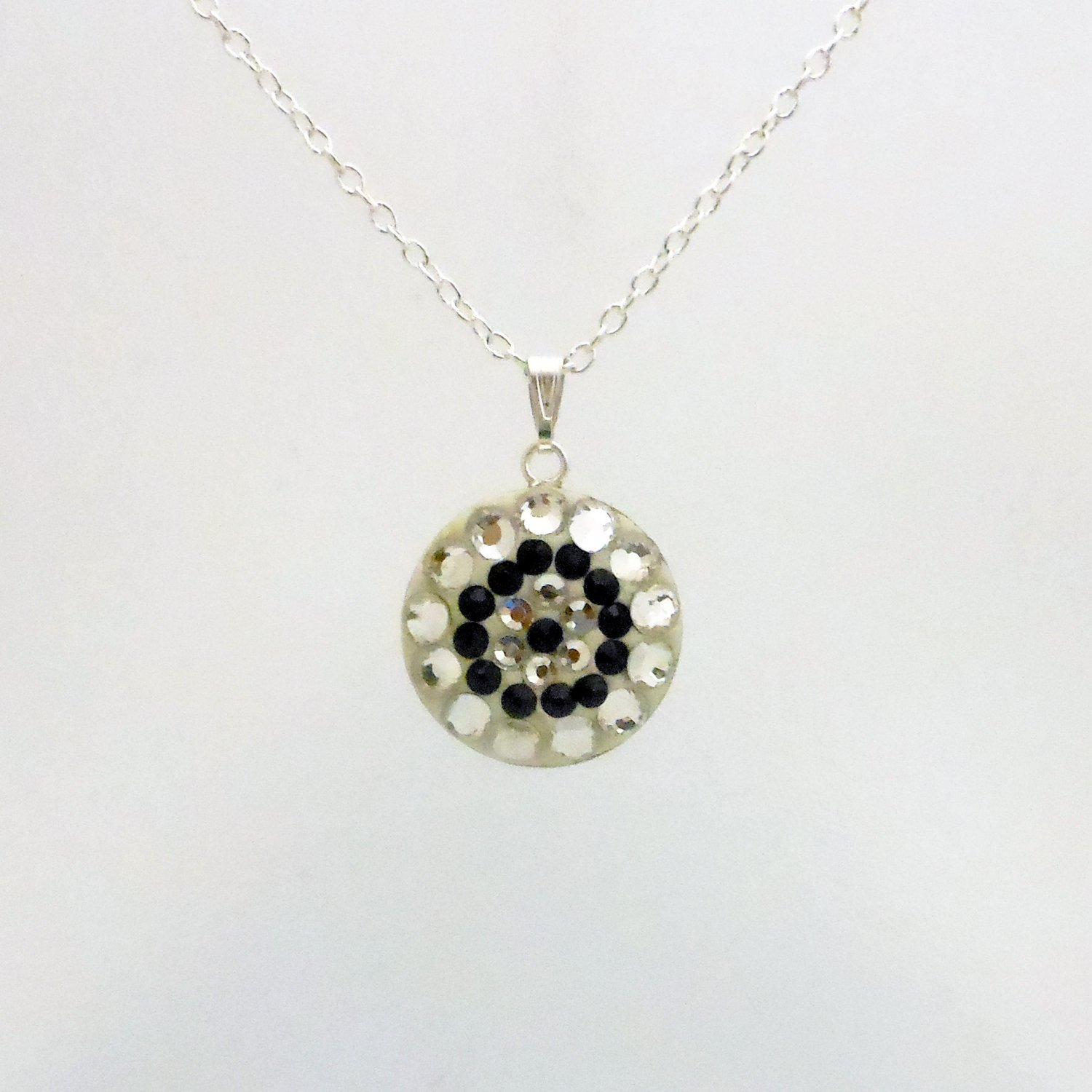 Round Silver and Black Swarovski Crystal Pendant Necklace