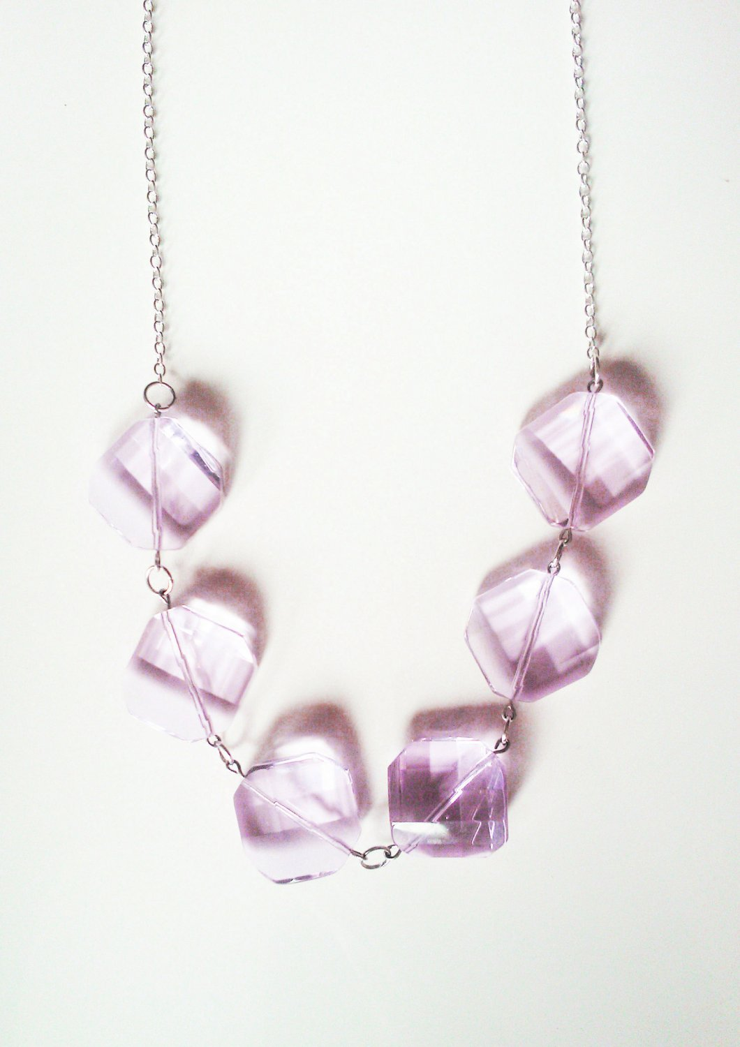 SALE Pink Glass Faceted Drop Necklace