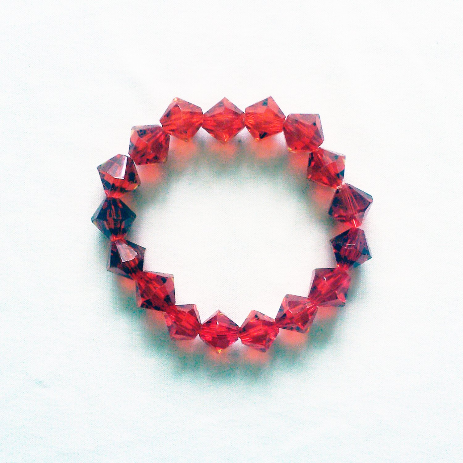 Red Glass Bicone Shaped Stretchy Bracelet