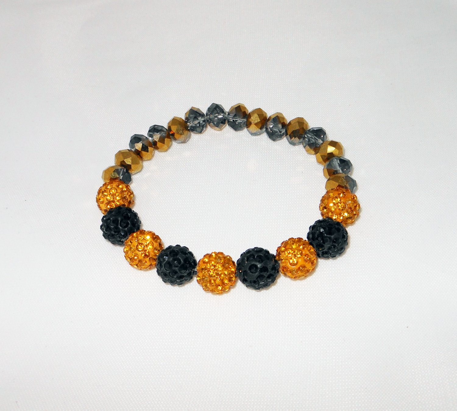 Gold and Black Crystal Stretchy Shamballa Bracelet with crystal strap