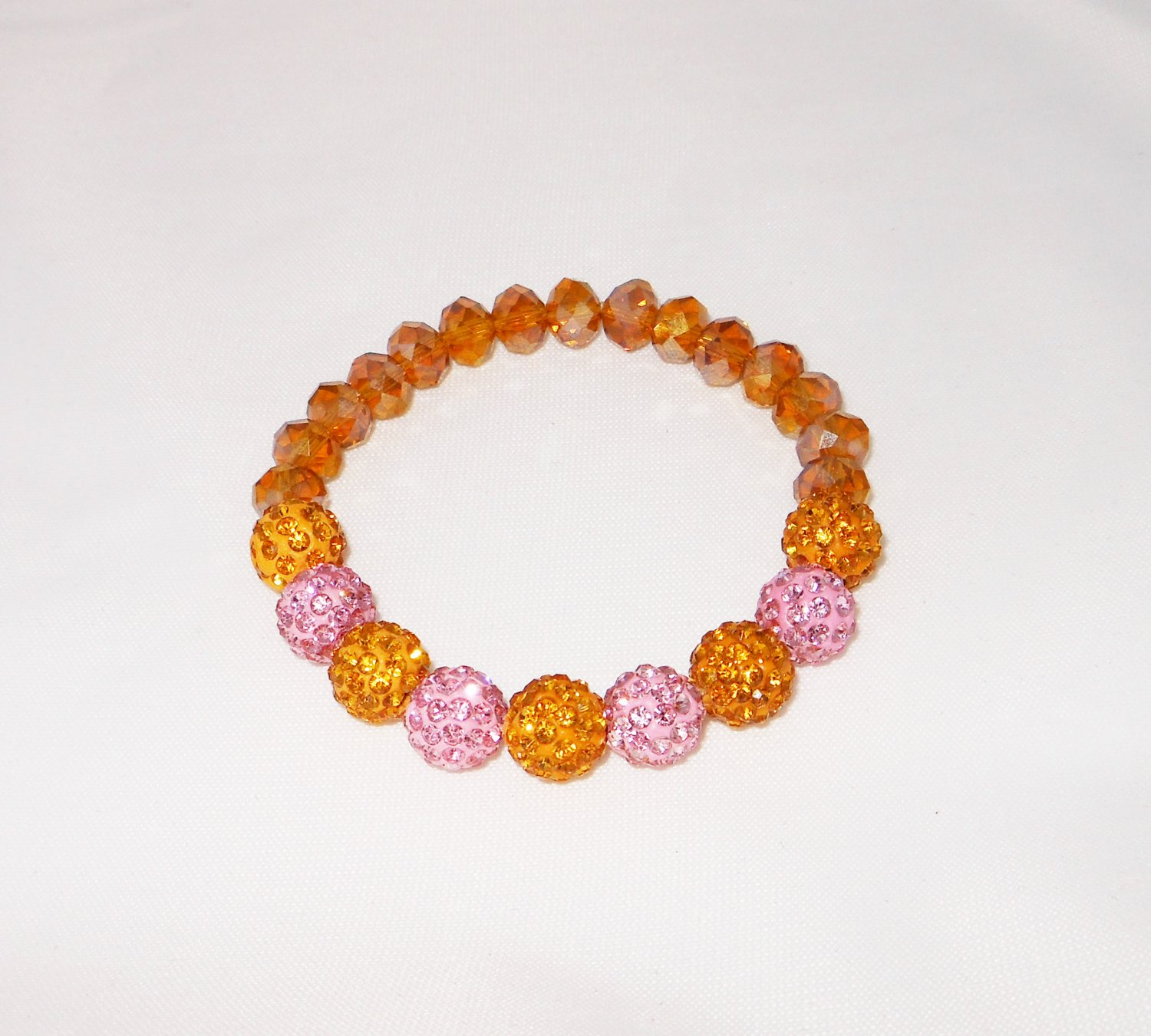 Gold and Pink Crystal Stretchy Shamballa Bracelet with crystal strap