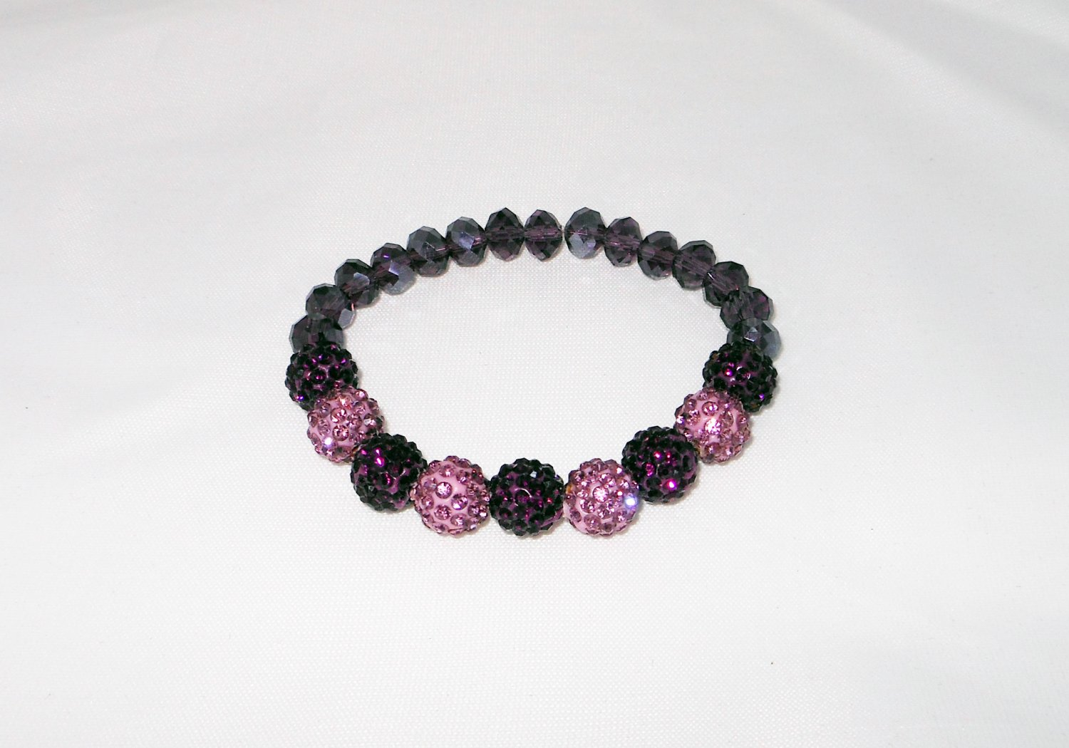 Purple and Lilac Crystal Stretchy Shamballa Bracelet with crystal strap