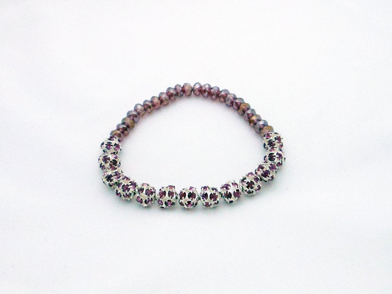 Lilac Austrian Crystal Stretchy Shamballa Bracelet with crystal strap