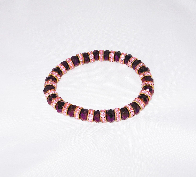 Purple Crystal Stretchy Bracelet