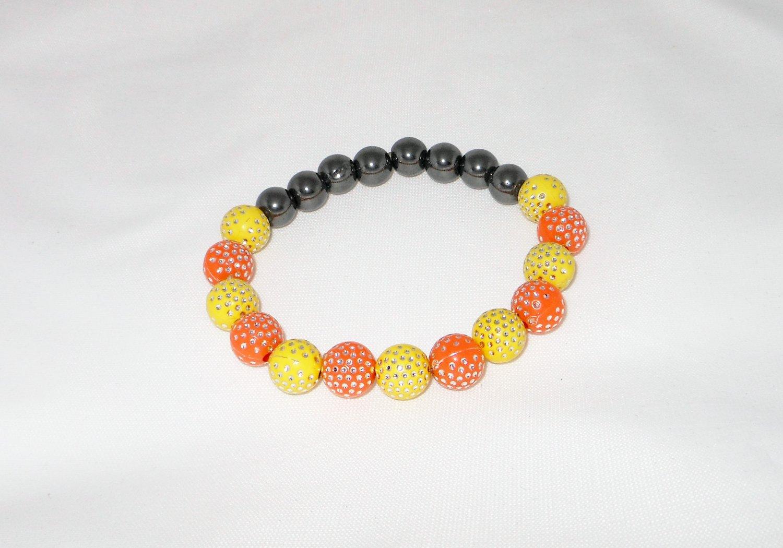 Yellow and Orange Stretchy Shamballa Bracelet