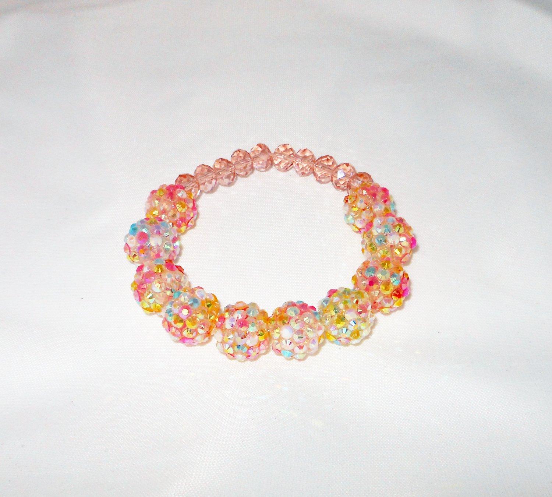 Pink Resin AB Stretchy Shamballa Bracelet
