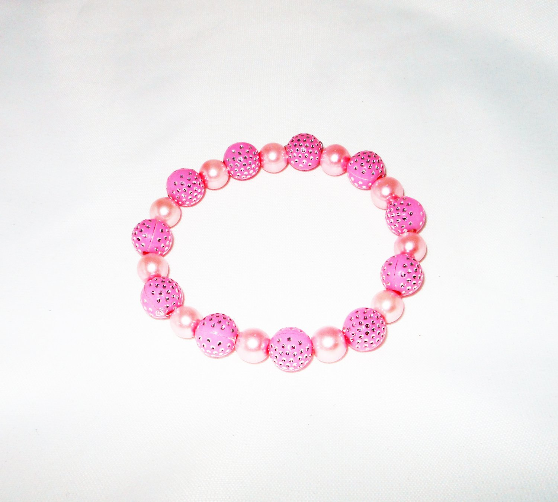 Pink Plastic Stretchy Bracelet