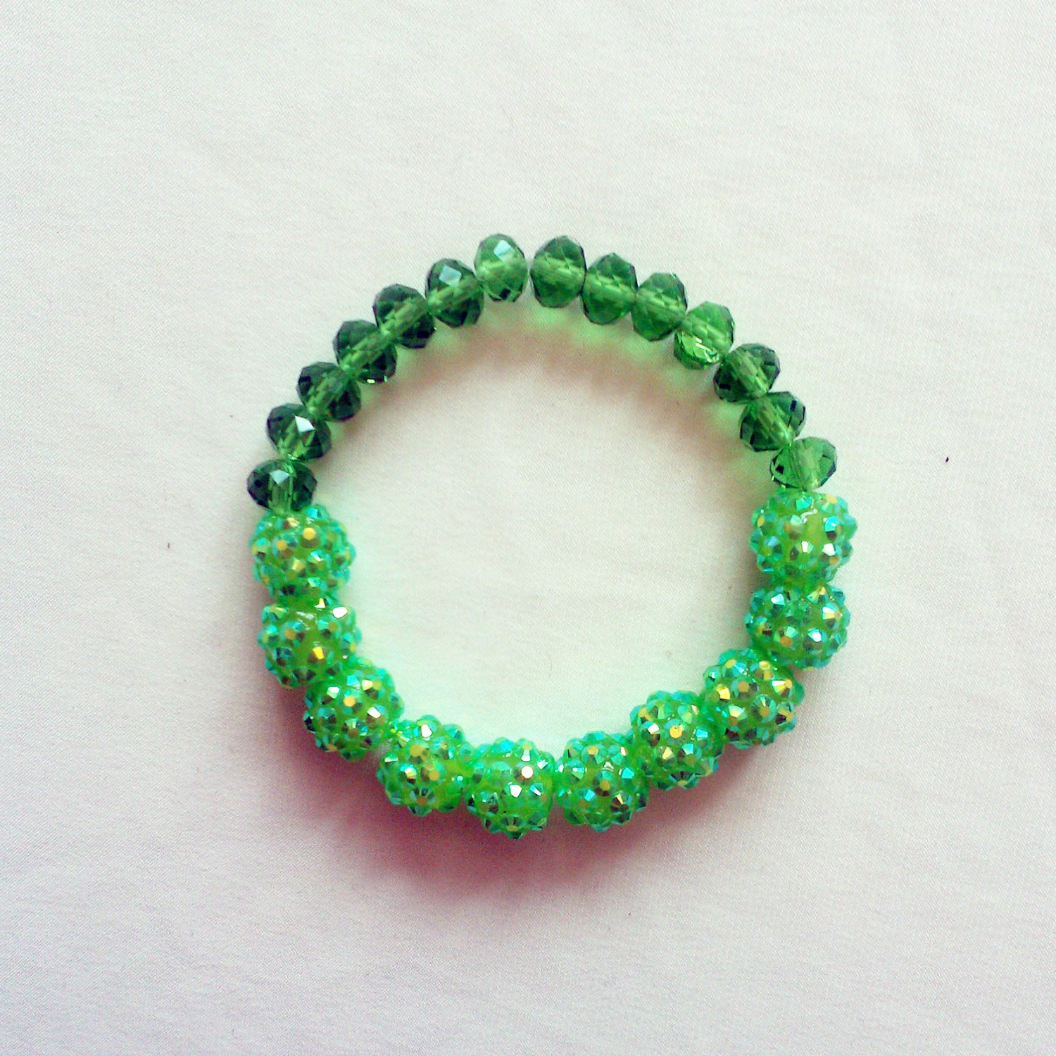 Green Resin AB Stretchy Shamballa Bracelet
