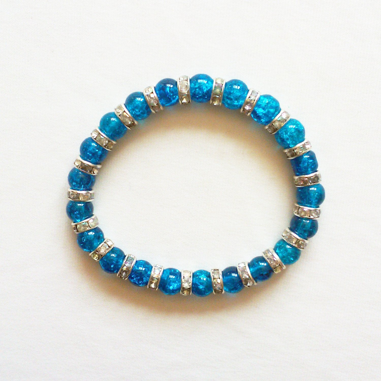 Blue and Silver Glass and Crystal Stretchy Bracelet