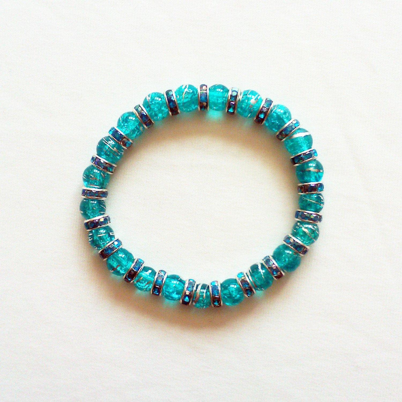 Blue Glass and Crystal Stretchy Bracelet