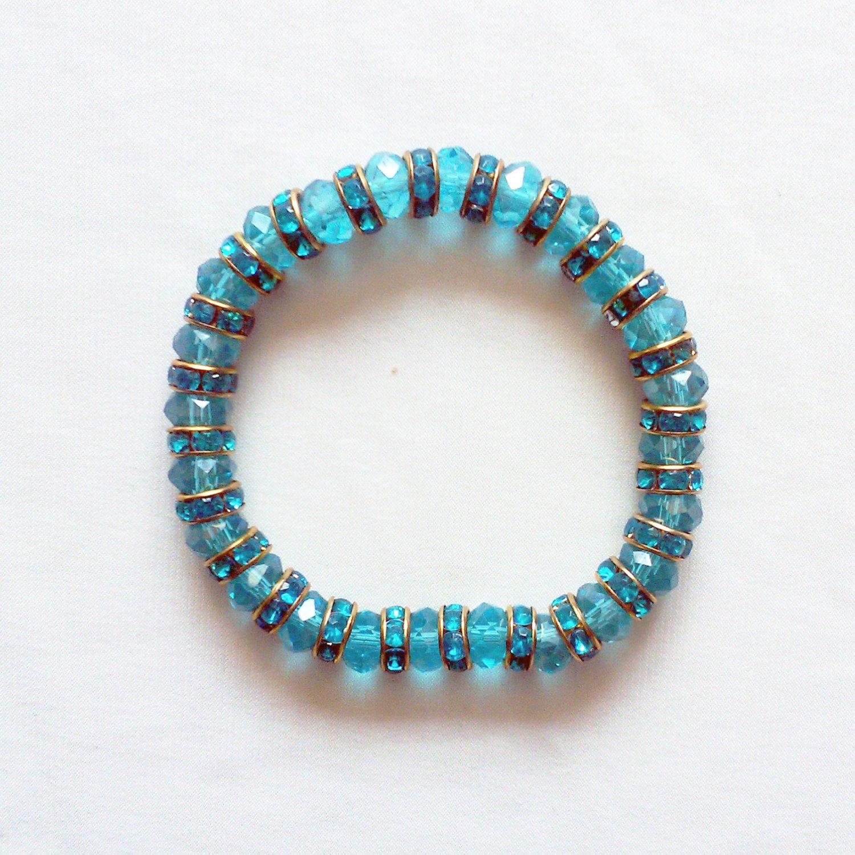 Turquoise Crystal Stretchy Bracelet