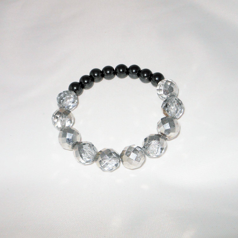 Silver Glass Stretchy Shamballa Bracelet