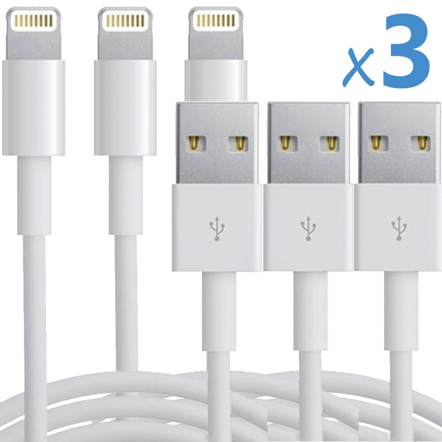 3x 8 Pin USB Data Sync Charger Cable Cord for iPhone 5 5S 5C iPod Touch 5 Nano 7
