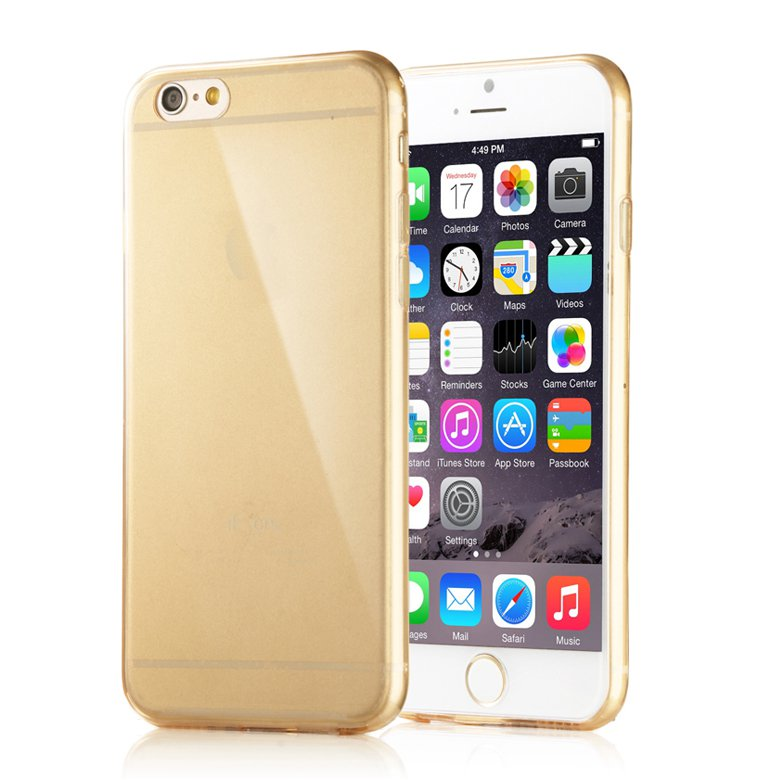 """2-Packs Premium SLIM TPU Skin Case Cover for Apple iPhone 6S and iPhone 6 4.7"""" - Gold"""