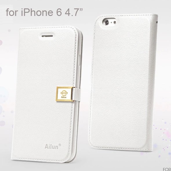 "Ailun Luxury Leather Wallet Case Protective Cover for iPhone 6S & iPhone 6 4.7"" - White"