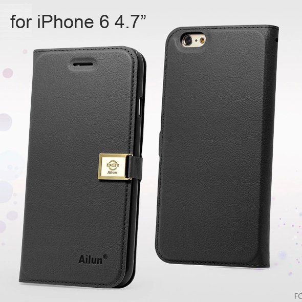 """Ailun Luxury Leather Wallet Case Protective Cover for iPhone 6S & iPhone 6 4.7"""" - Black"""